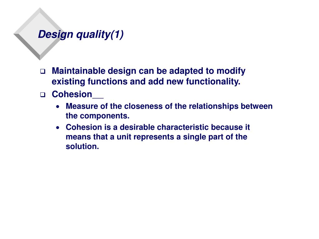 Design quality(1)
