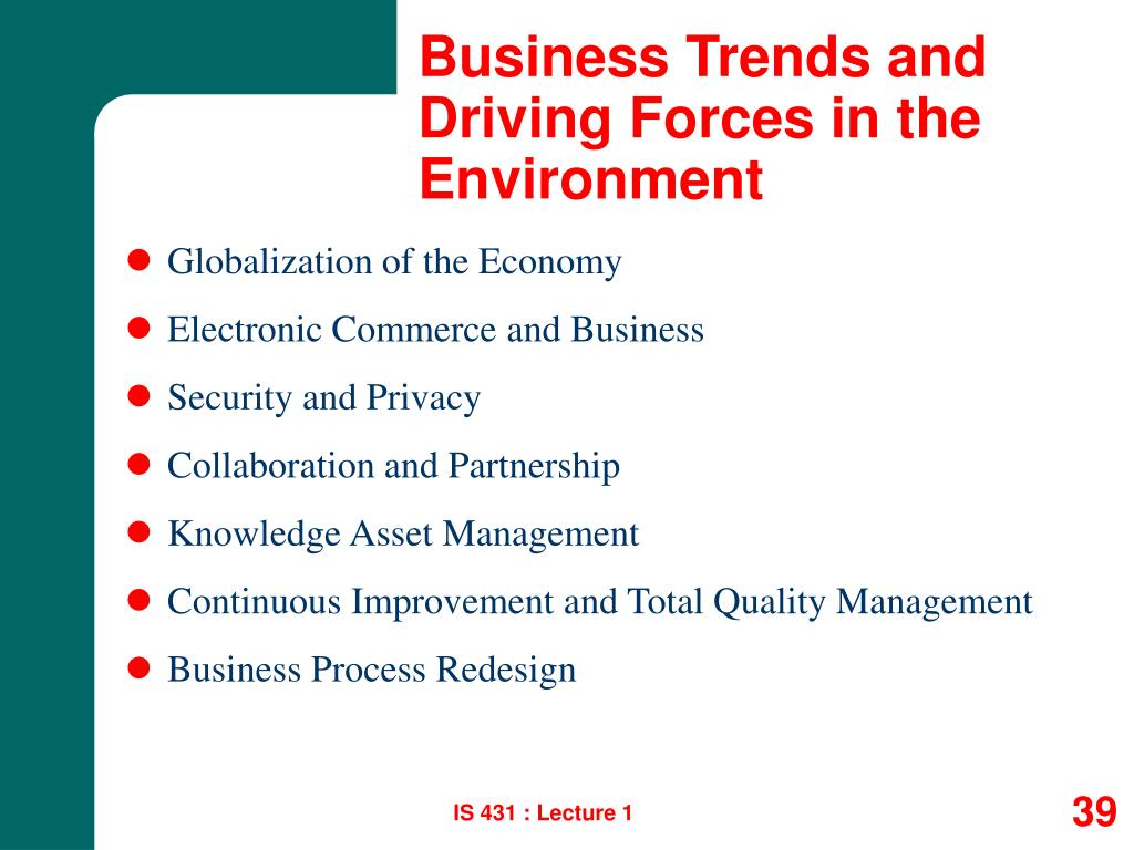 Business Trends and Driving Forces in the Environment