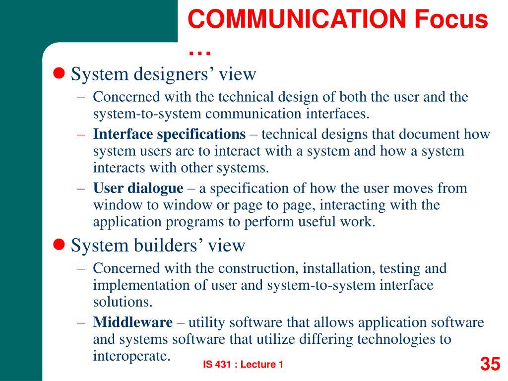 COMMUNICATION Focus …