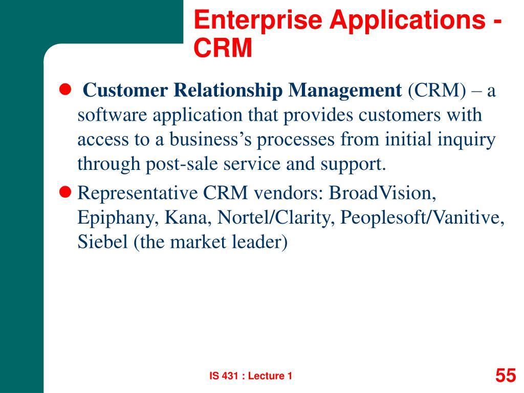 Enterprise Applications - CRM