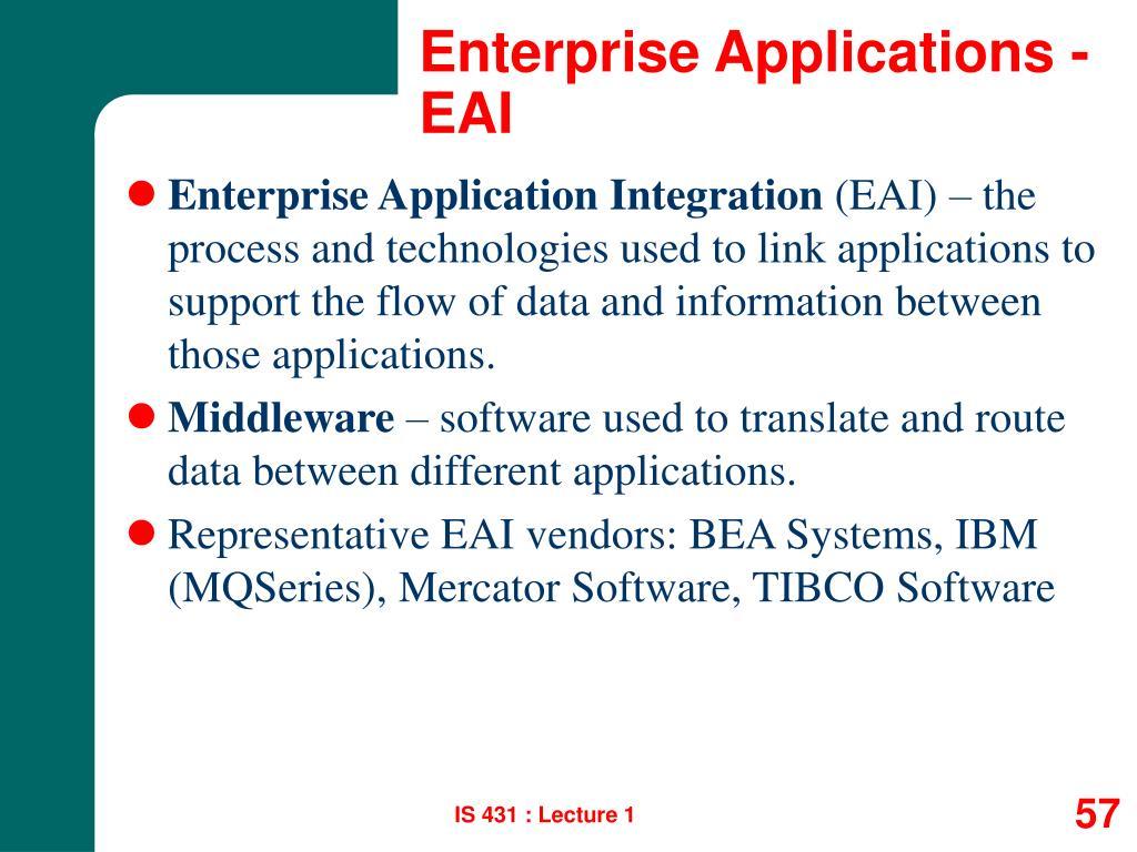 Enterprise Applications - EAI