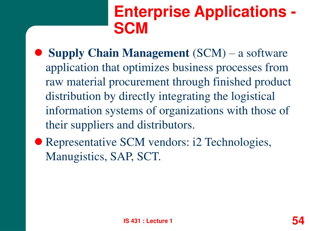 Enterprise Applications - SCM