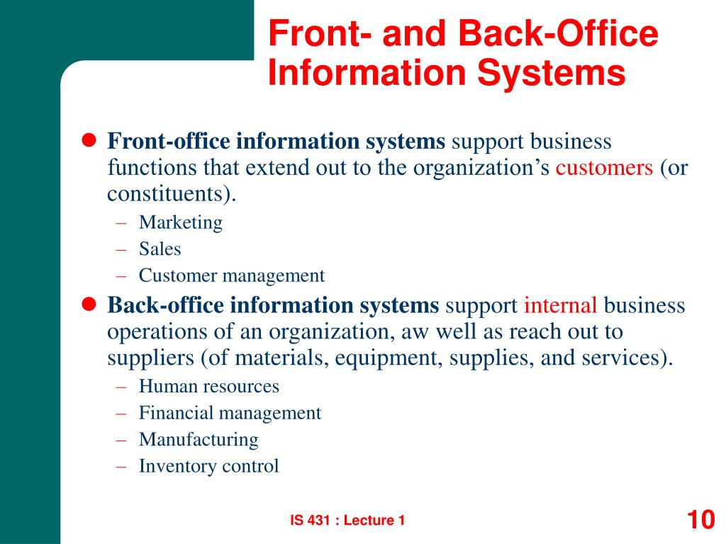 Front- and Back-Office Information Systems