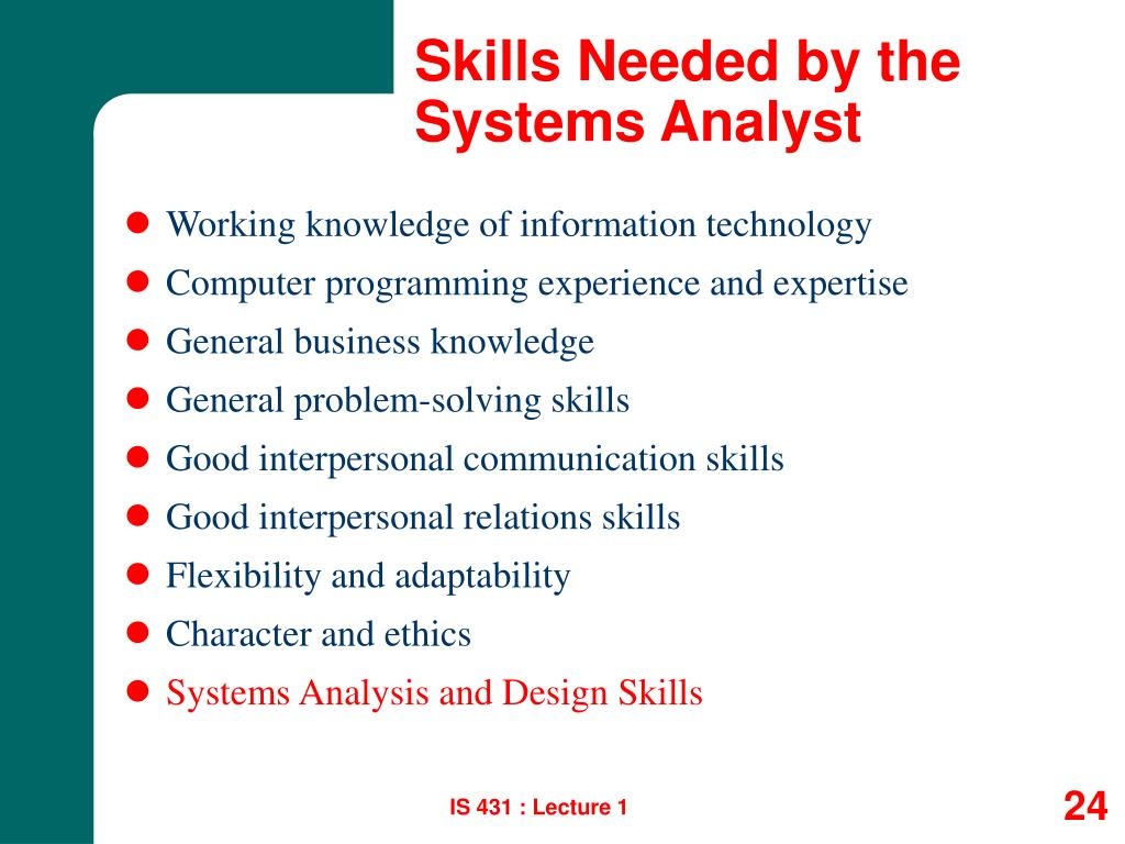 Skills Needed by the Systems Analyst