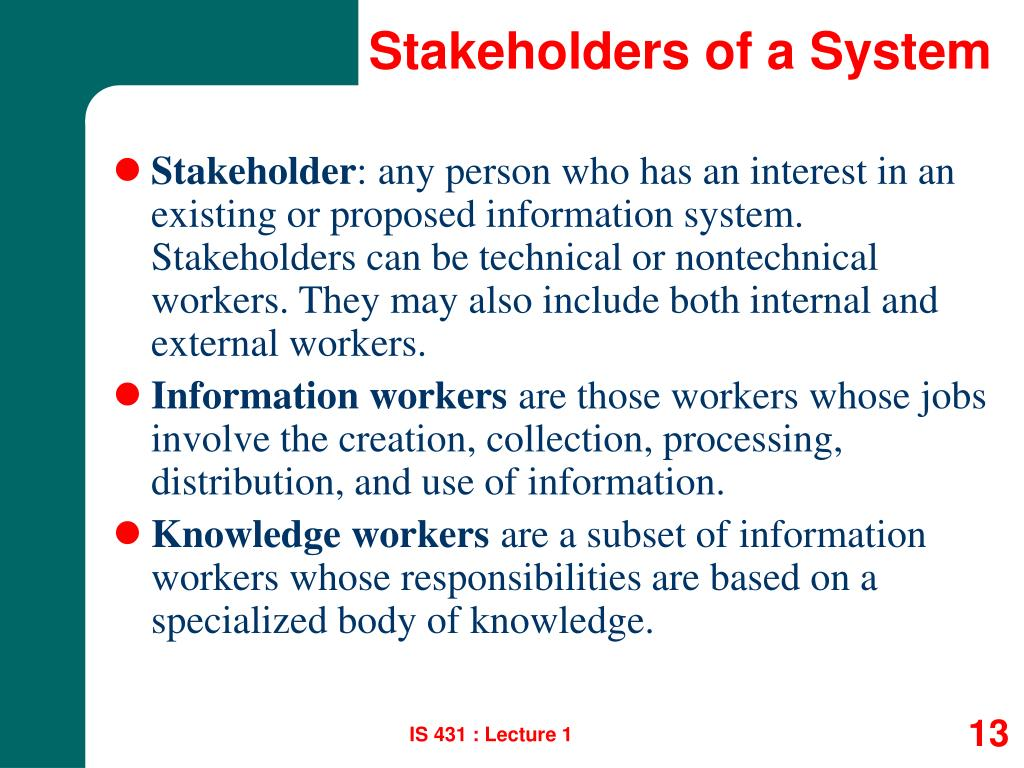 Stakeholders of a System