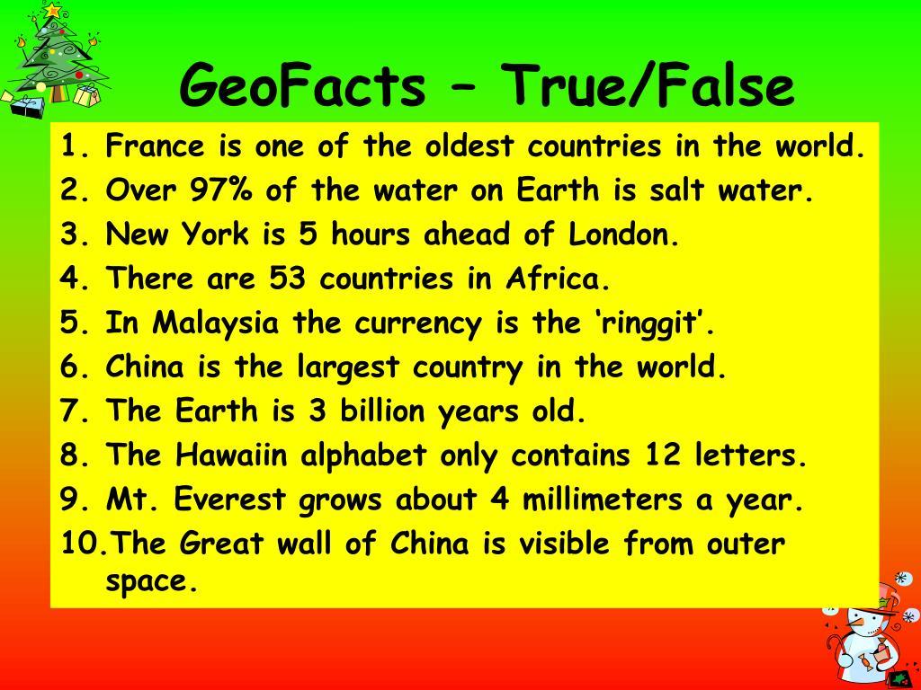 GeoFacts – True/False