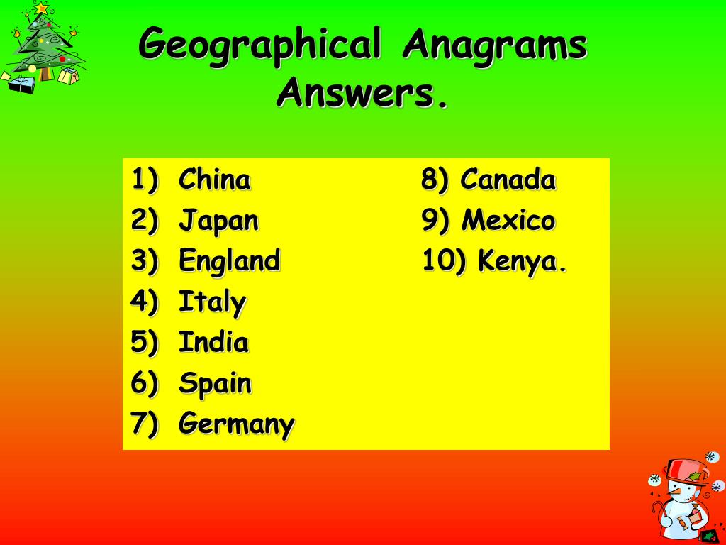 Geographical Anagrams Answers.