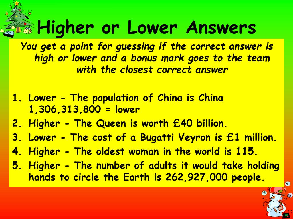 Higher or Lower Answers