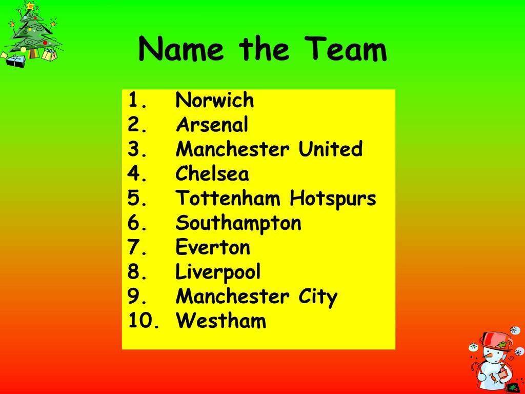 Name the Team