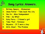 song lyrics answers