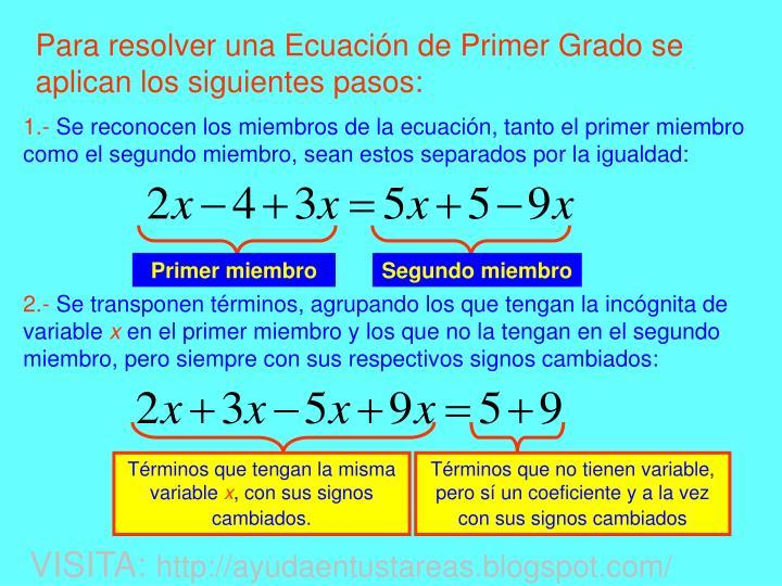 Para resolver una Ecuación de Primer Grado se aplican los siguientes pasos: