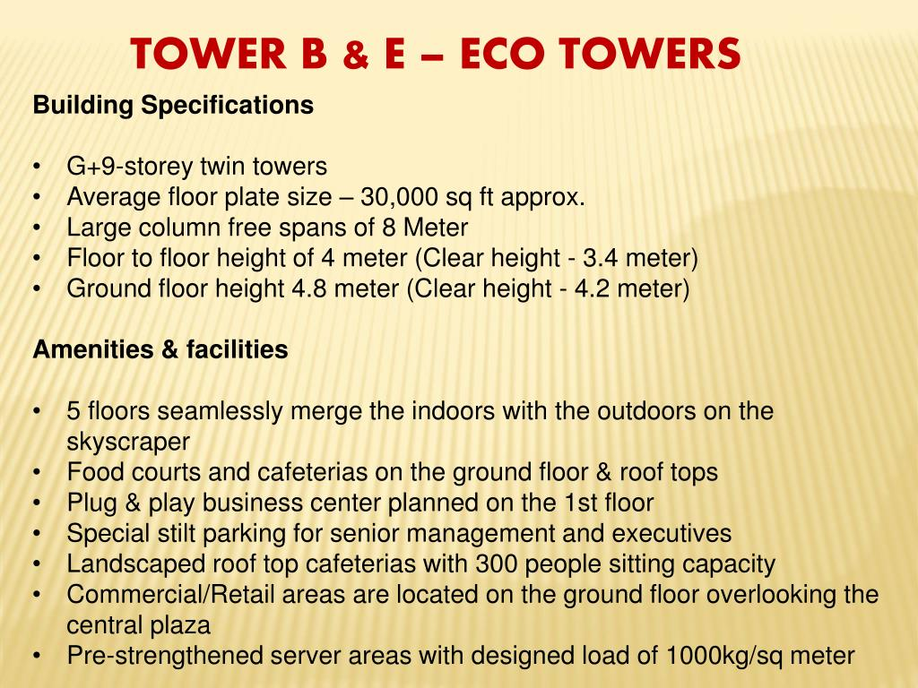 TOWER B & E – ECO TOWERS