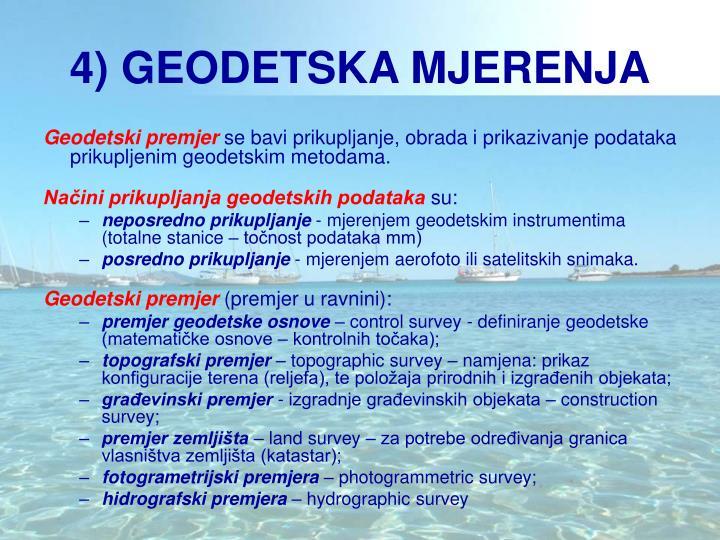 4) GEODETSKA MJERENJA