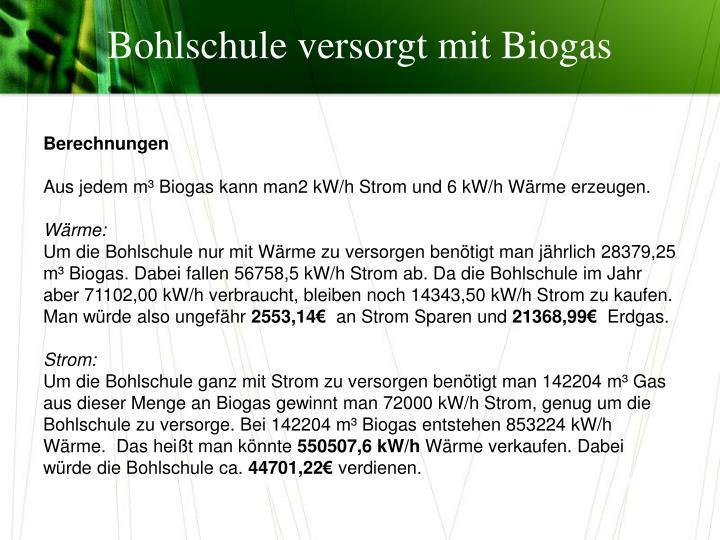 Bohlschule versorgt mit Biogas