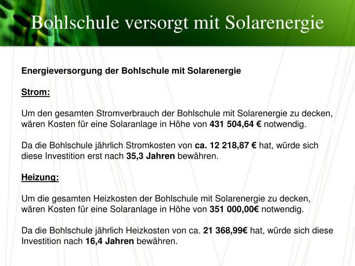 Bohlschule versorgt mit Solarenergie