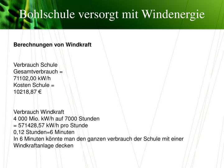 Bohlschule versorgt mit Windenergie