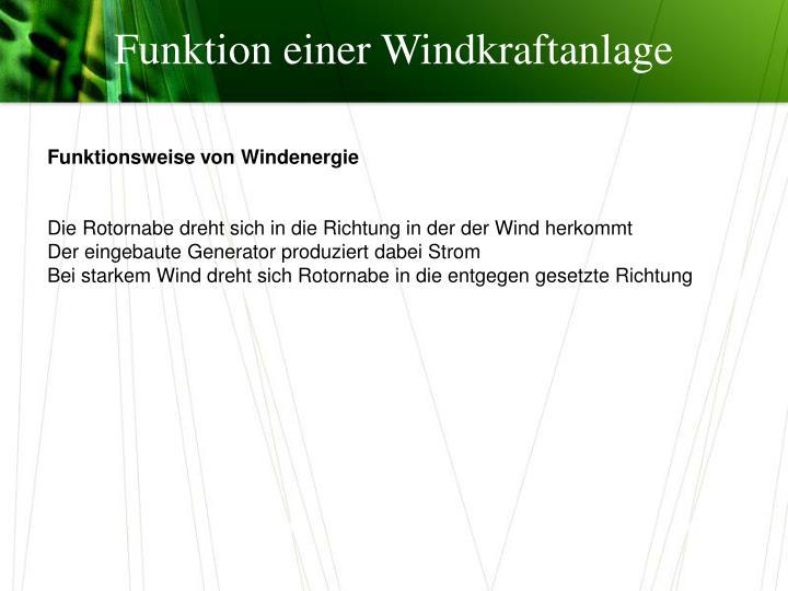 Funktion einer Windkraftanlage