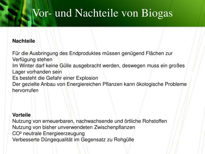 Vor- und Nachteile von Biogas