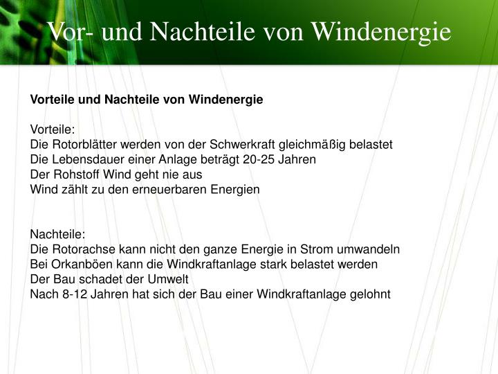 Vor- und Nachteile von Windenergie