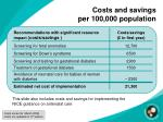 costs and savings per 100 000 population