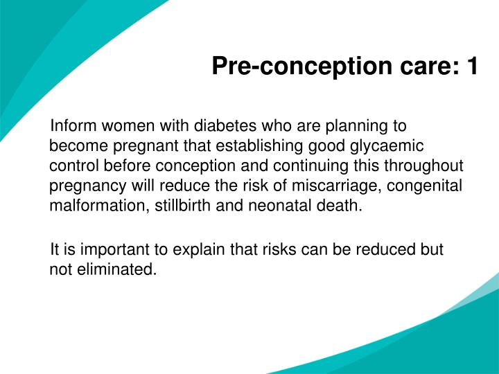 Pre-conception care: 1