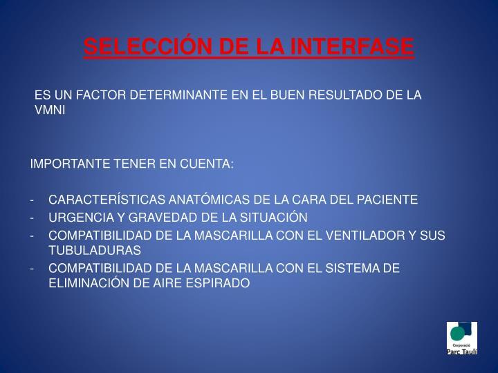 SELECCIÓN DE LA INTERFASE