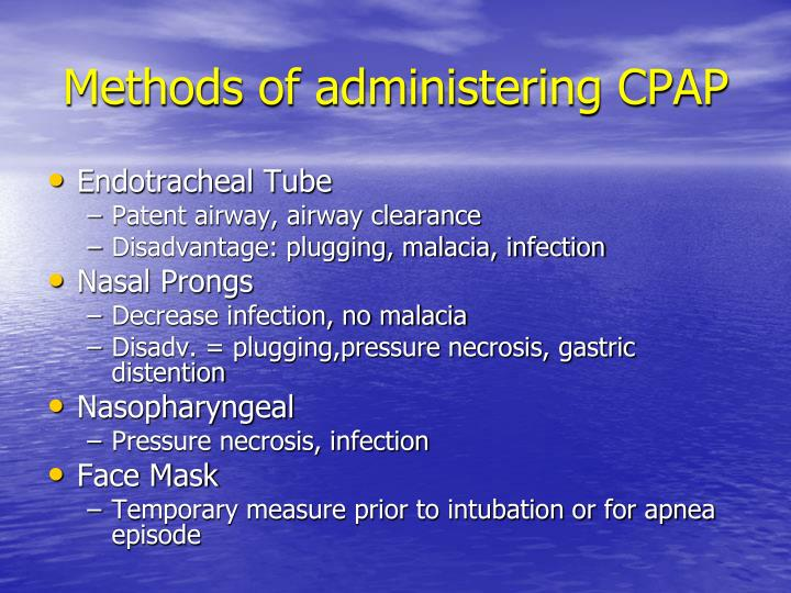 Methods of administering CPAP