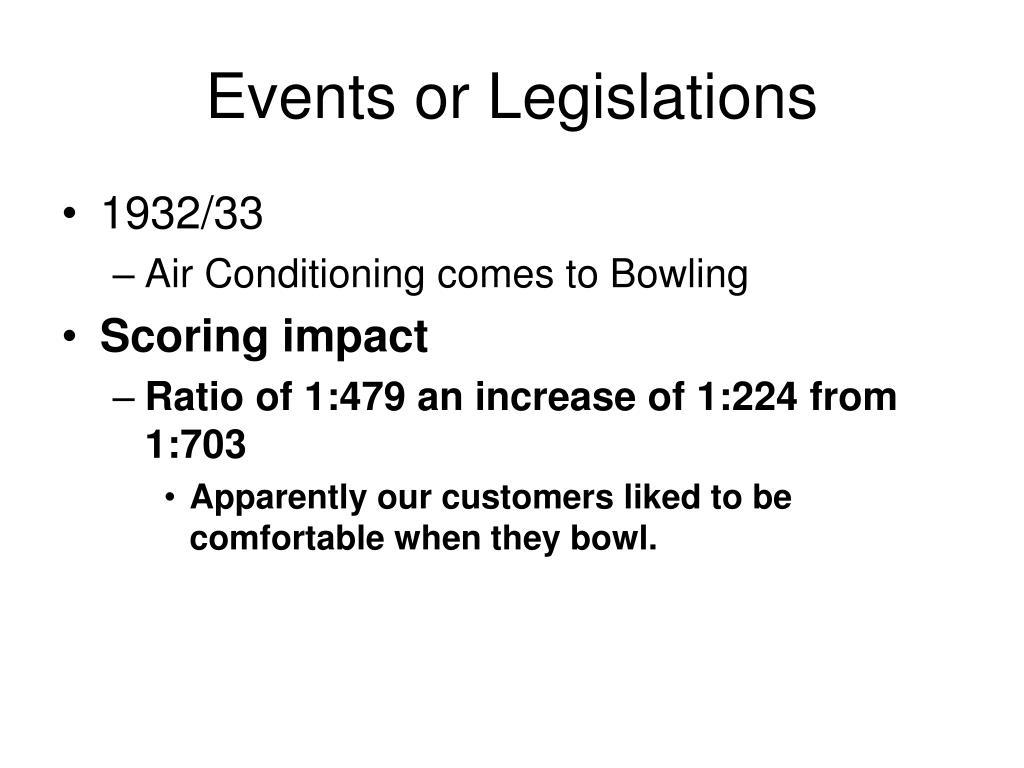Events or Legislations