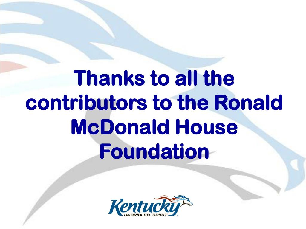 Thanks to all the contributors to the Ronald McDonald House Foundation