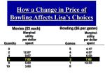 how a change in price of bowling affects lisa s choices