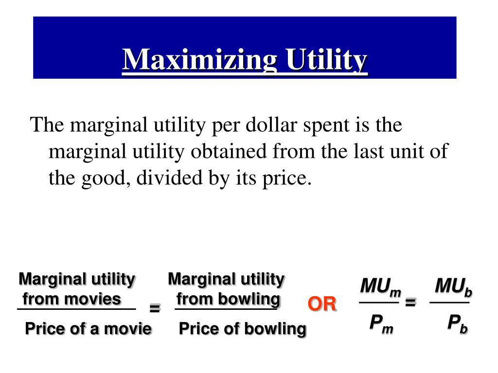 Marginal utilityMarginal utility