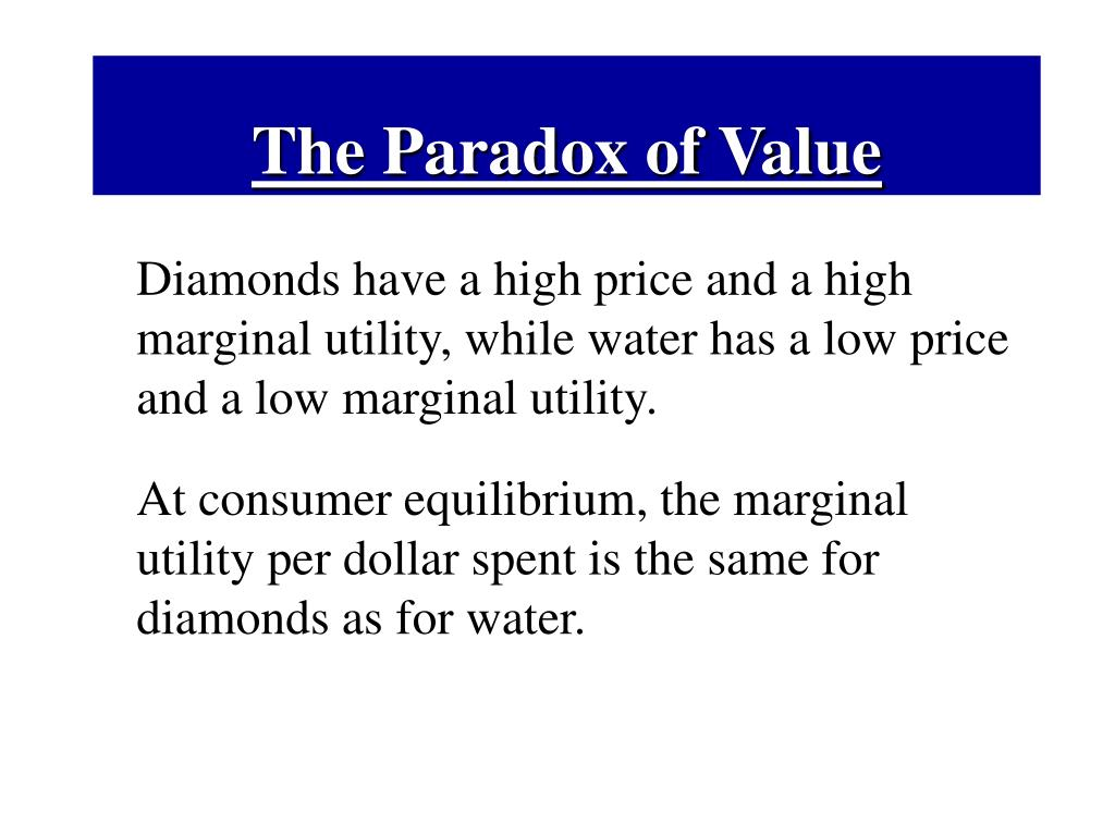 The Paradox of Value
