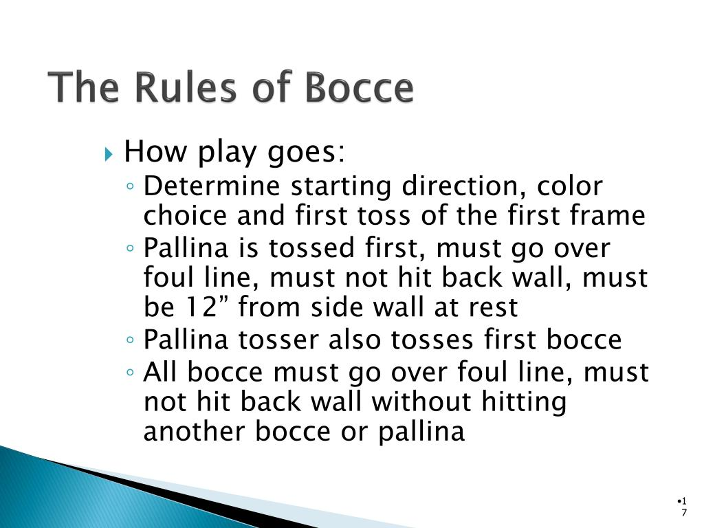 The Rules of Bocce