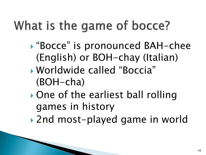 What is the game of bocce
