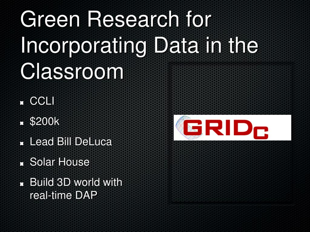 Green Research for Incorporating Data in the Classroom