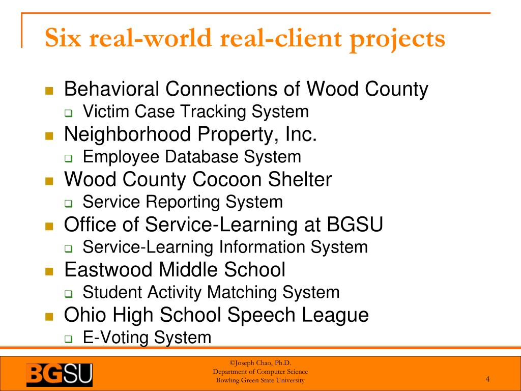 Six real-world real-client projects
