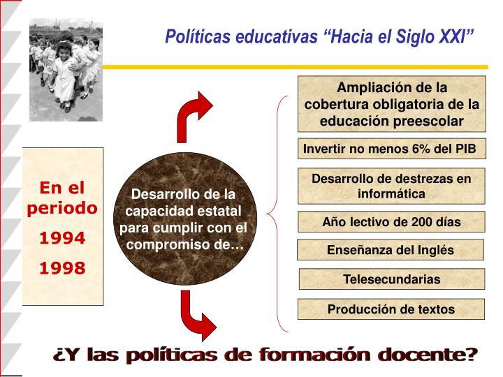 """Políticas educativas """"Hacia el Siglo XXI"""""""