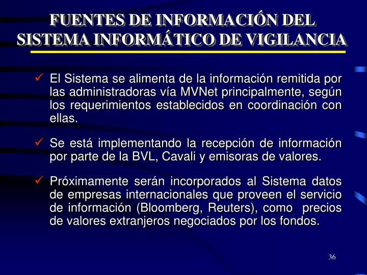 FUENTES DE INFORMACIÓN DEL SISTEMA INFORMÁTICO DE VIGILANCIA