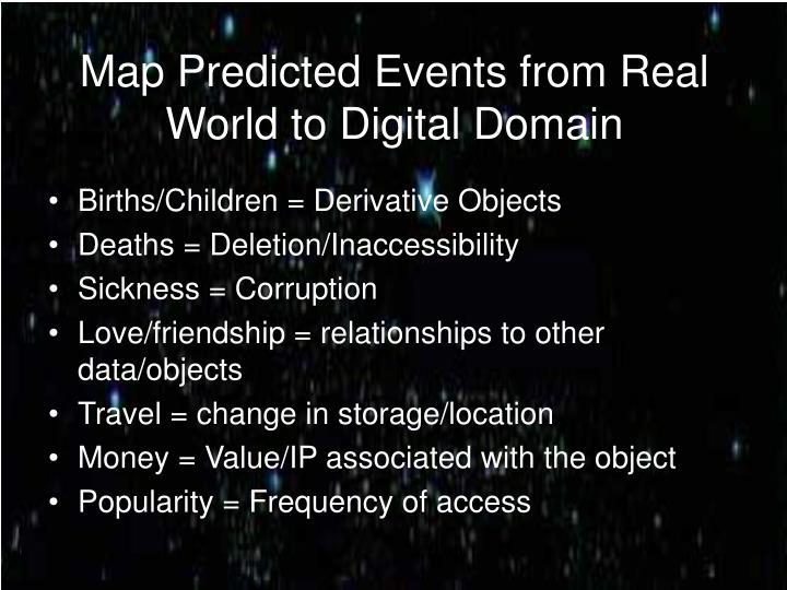Map predicted events from real world to digital domain l.jpg