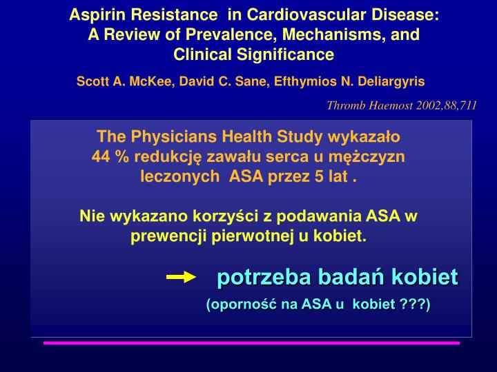 Aspirin Resistance  in Cardiovascular Disease: