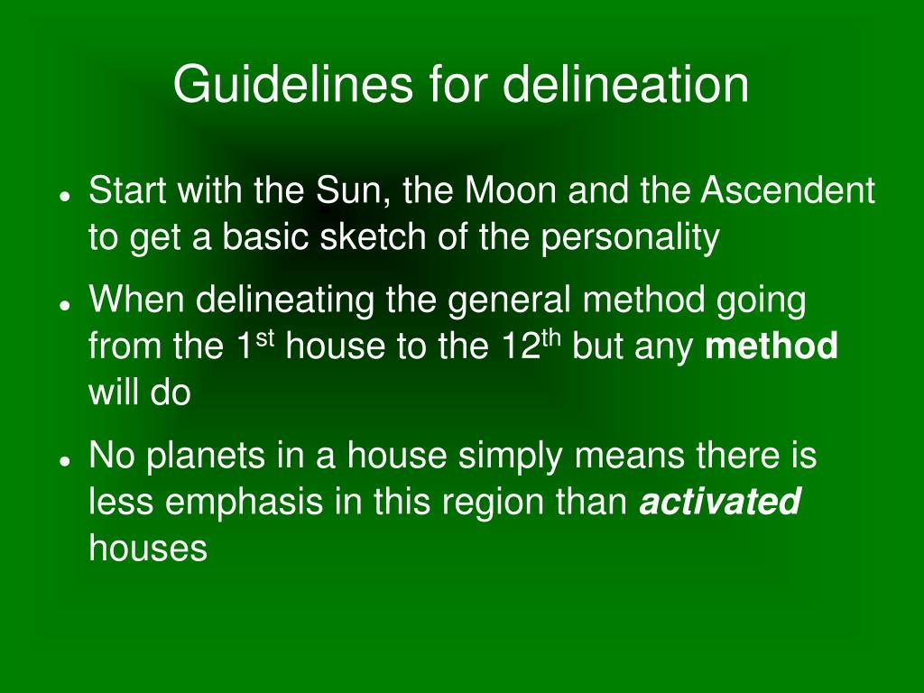 Guidelines for delineation
