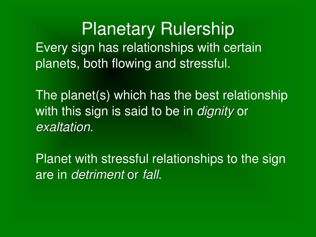 Every sign has relationships with certain planets, both flowing and stressful.