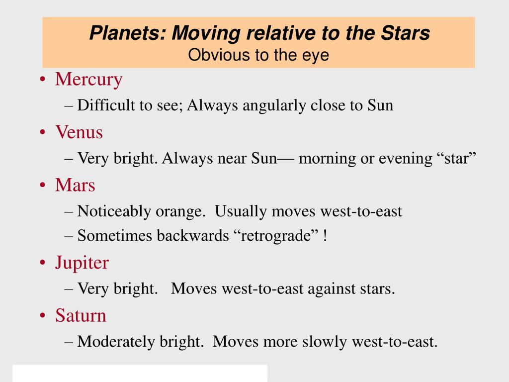 Planets: Moving relative to the Stars