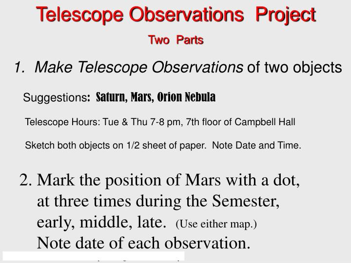 Telescope Observations  Project