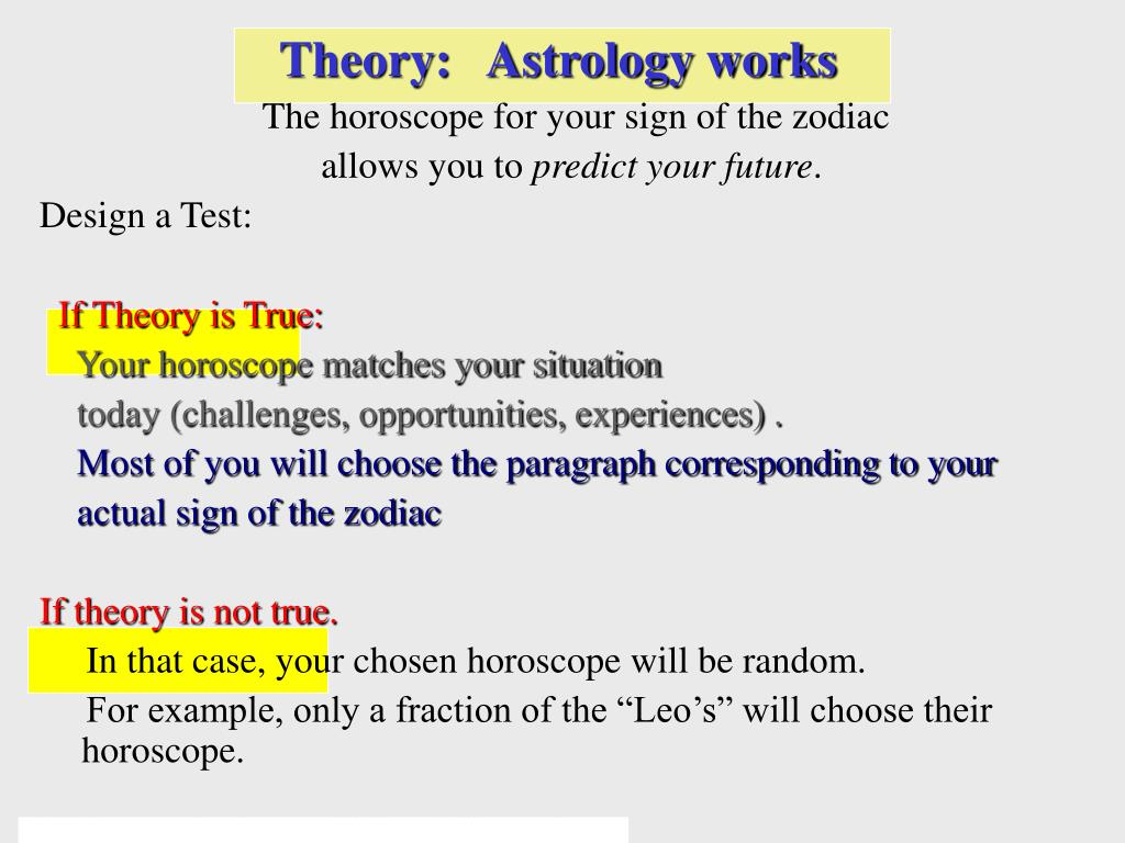 Theory:   Astrology works