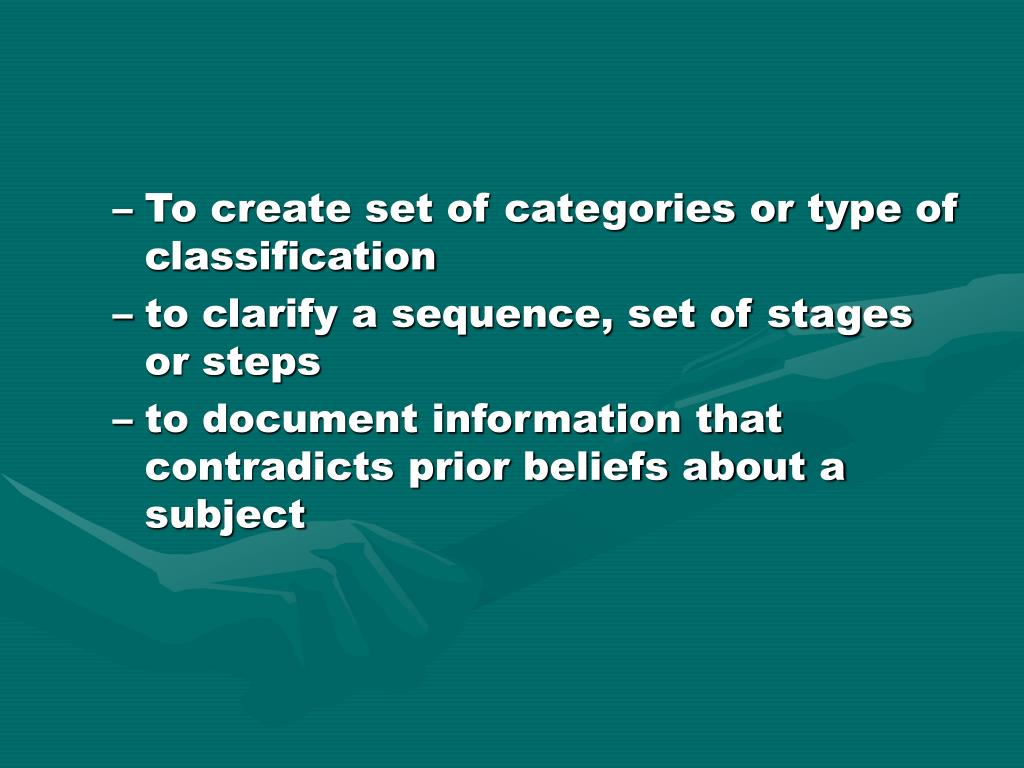 To create set of categories or type of classification