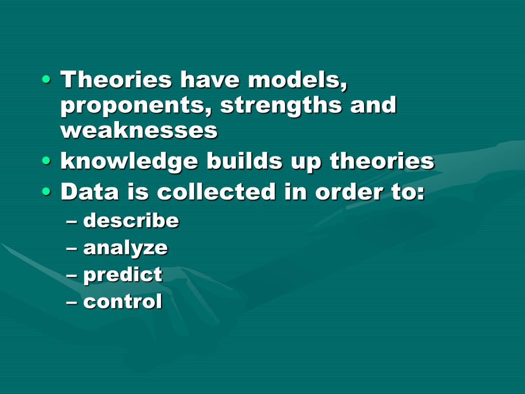 Theories have models, proponents, strengths and weaknesses