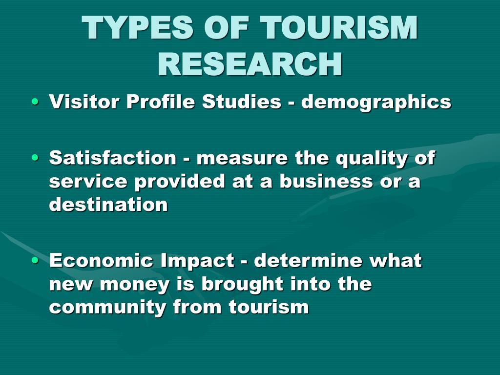 TYPES OF TOURISM RESEARCH
