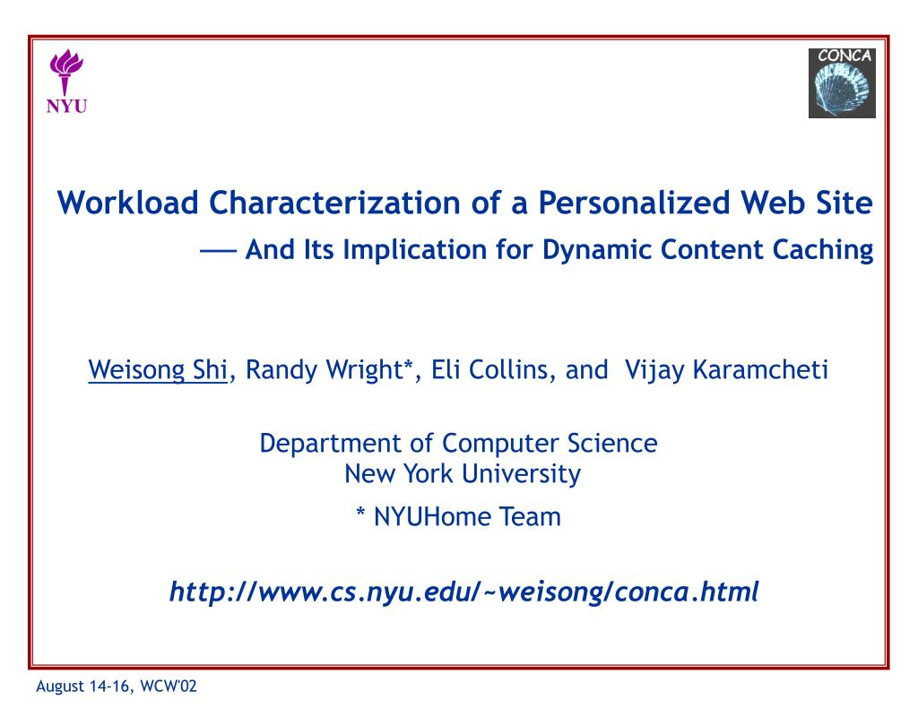 Workload Characterization of a Personalized Web Site