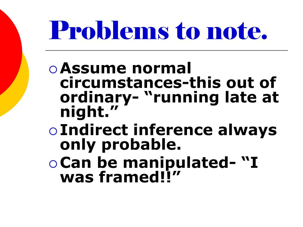 Problems to note.